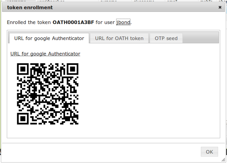 The QR code can be scanned by the Google Authenticator