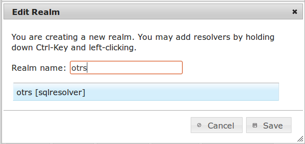 The realm otrs contains the resolver otrs.