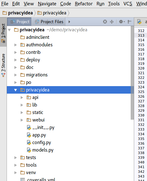 pycharm-privacyidea-structure